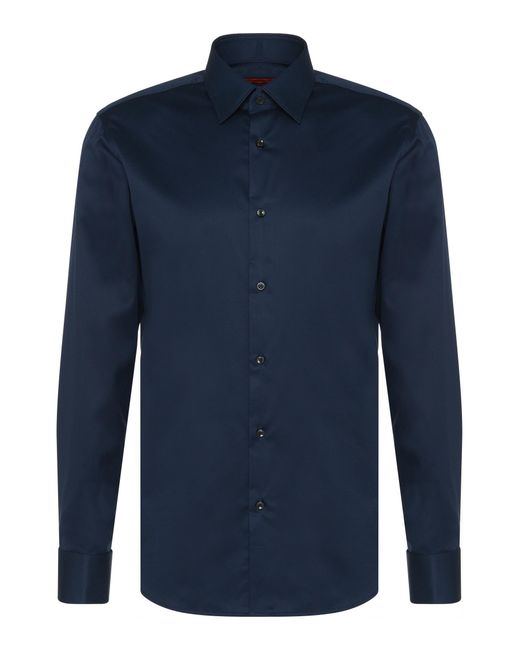 HUGO | Blue Regular-fit Shirt In Cotton With Turn-back Cuffs: 'c-george' for Men | Lyst