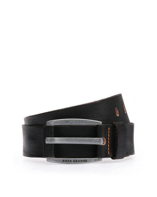 BOSS | Black Leather Belt With Vintage-inspired Buckle for Men | Lyst