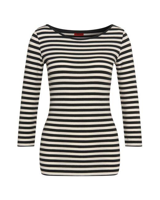 HUGO   Blue Striped T-shirt In Stretch Cotton Blend: 'dannala_2'   Lyst