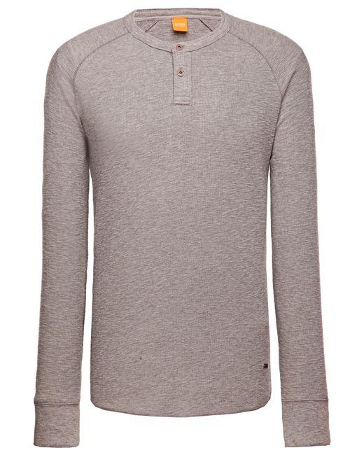BOSS Orange | Gray Cotton Long-sleeve Shirt 'trucker 1' for Men | Lyst