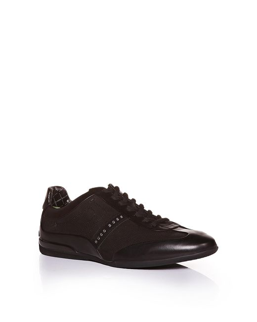 BOSS Green | Black Leather-mix Trainers: 'space Select' for Men | Lyst