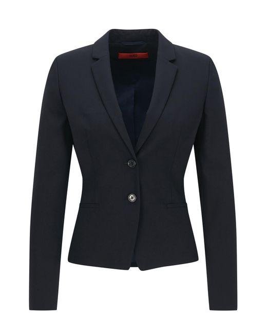 HUGO | Blue Regular-fit Cropped Blazer In Stretch Wool | Lyst