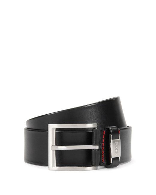 HUGO | Black Leather Belt With Branded Loop By Man for Men | Lyst