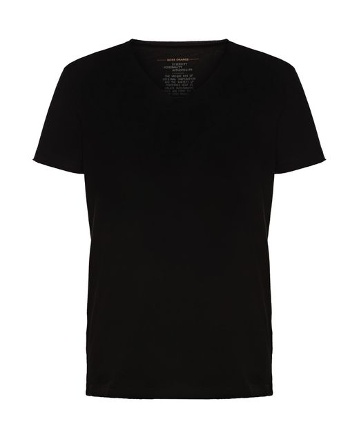 BOSS Orange | Black Regular-fit T-shirt With Raw-cut V Neck for Men | Lyst
