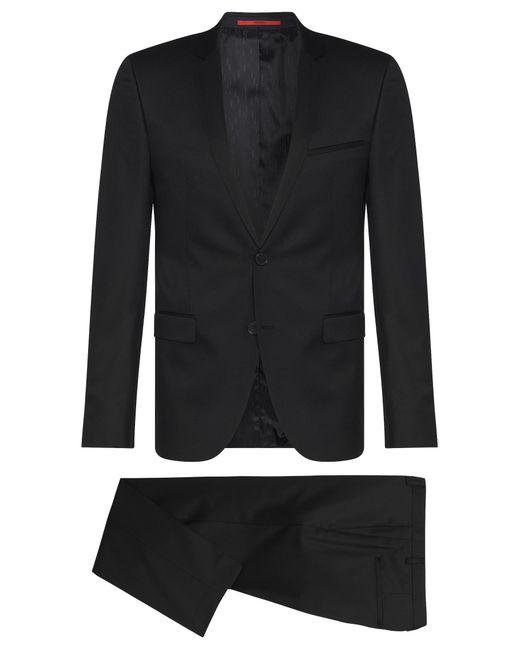 HUGO | Black Extra-slim-fit Suit In Virgin Wool for Men | Lyst