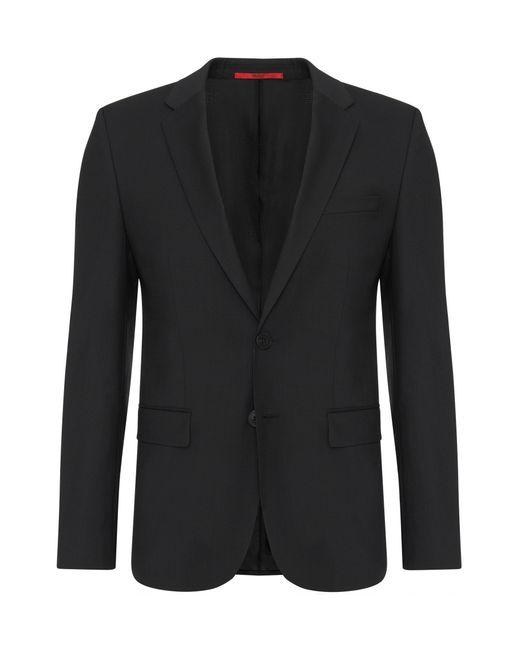 HUGO | Black Slim-fit Jacket In Pure New Wool: 'alans' for Men | Lyst