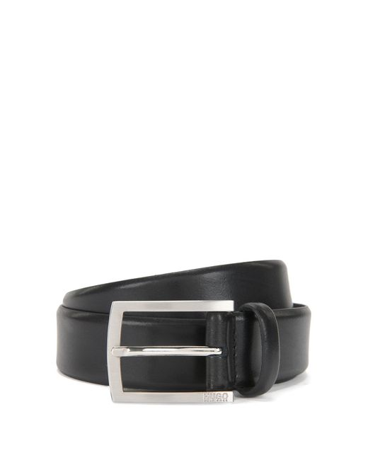 HUGO | Black Leather Belt With Brushed Pin Buckle for Men | Lyst