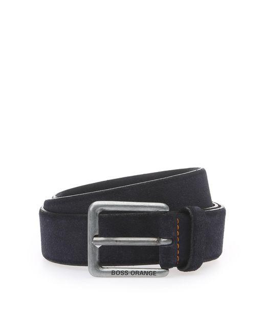 BOSS Orange | Black Suede Belt With Stitched Highlights for Men | Lyst
