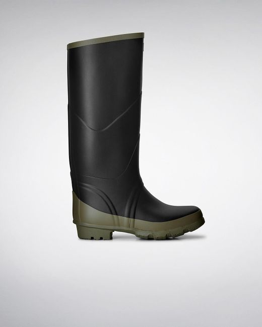 Hunter | Black Argyll Bullseye Full Knee Wellington Boots for Men | Lyst