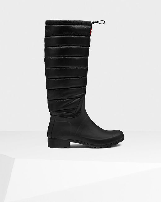 Hunter | Black Women's Original Tall Quilted Leg Rain Boots | Lyst