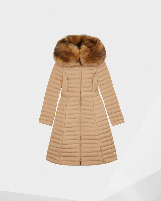 Hunter - Natural Refined Down Coat With Faux Fur Hood - Lyst