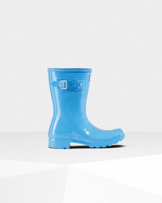 Hunter - Blue Original Tour Short Gloss Wellington Boots - Lyst