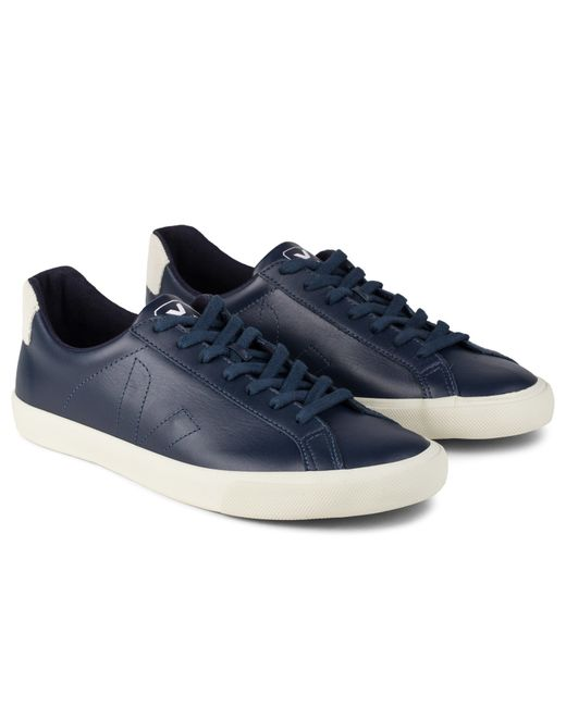 Veja Navy Esplar Leather Sneakers In Blue For Men Navy