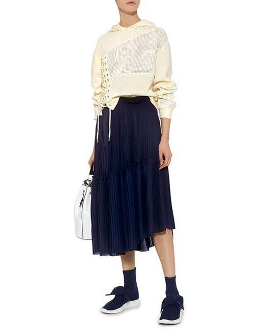 b0c17da0e KENZO Asymmetric Ruffle Pleated Midi Skirt in Blue - Save 65% - Lyst