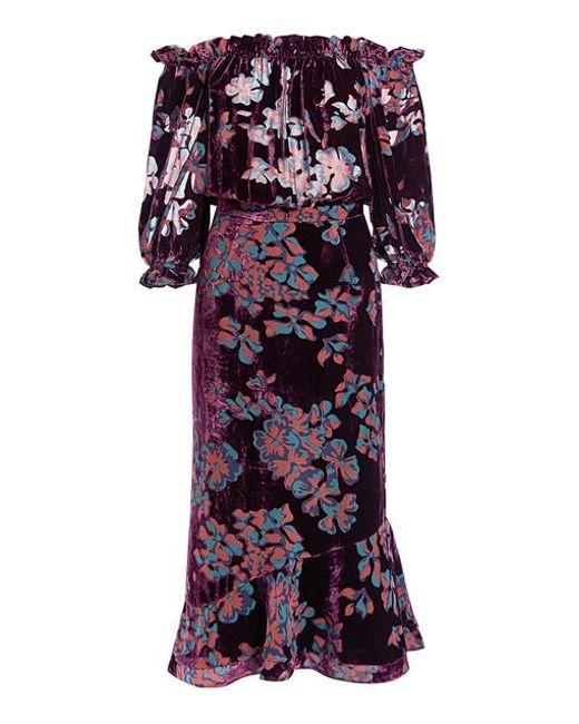 Saloni - Multicolor Grace Off Shoulder Velvet Floral Ruffled Midi Dress - Lyst