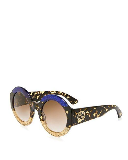 cecdb23b03da9 ... Gucci - Multicolor Glitter Tortoise Stripe Round Sunglasses - Lyst ...
