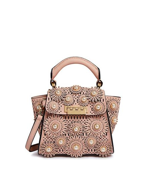0b89994355 Zac Zac Posen - Pink Eartha Floral Pearl Mini Crossbody Bag - Lyst ...