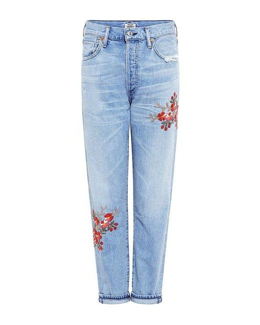 Citizens of Humanity | Blue Liya Emborderied High Rise Jeans | Lyst