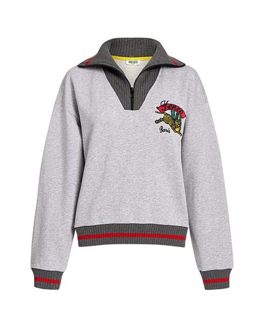 410f6a7e KENZO - Gray Bamboo Tiger Embroidered Boxy Sweatshirt - Lyst ...