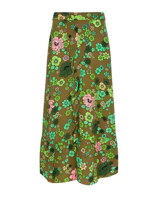 Boutique Moschino - Green Ruffle Front Slit Floral Midi Skirt - Lyst