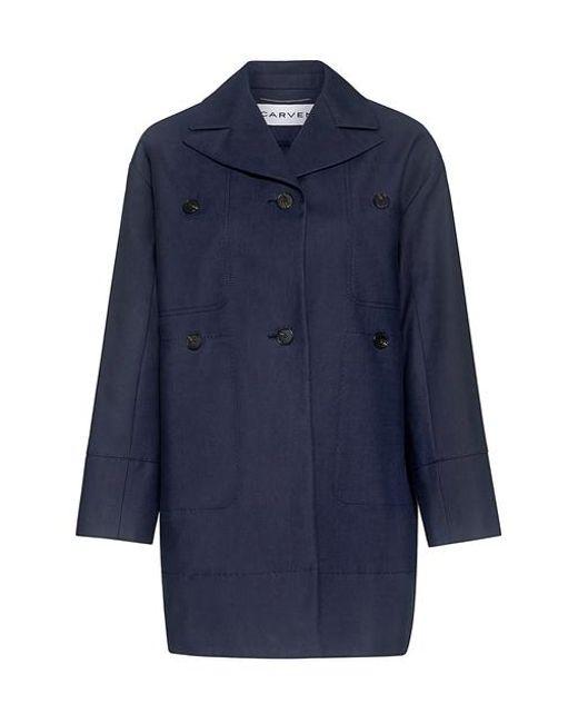 Carven - Blue Cotton Gabardine Coat - Lyst