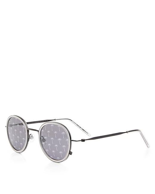 dfc65296e ... Tomas Maier - Multicolor Palm Tree Printed Mirrored Round Frame  Sunglasses - Lyst ...
