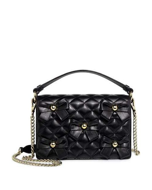Boutique Moschino - Black Quilted Leather Bow Studs Chain Strap Crossbody Bag - Lyst