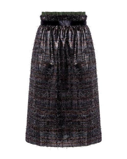 Mother Of Pearl - Black Eloise Metallic Midi Skirt - Lyst