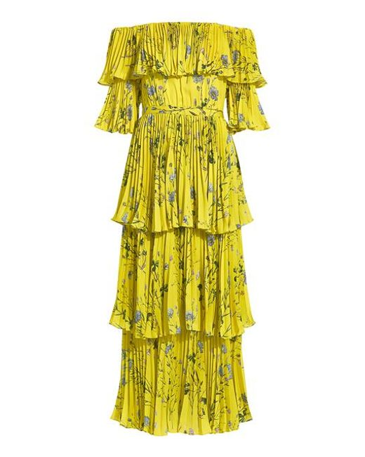 00e8a6351bf9 Self-Portrait - Yellow Off-the-shoulder Floral Tier Pleated Maxi Dress ...