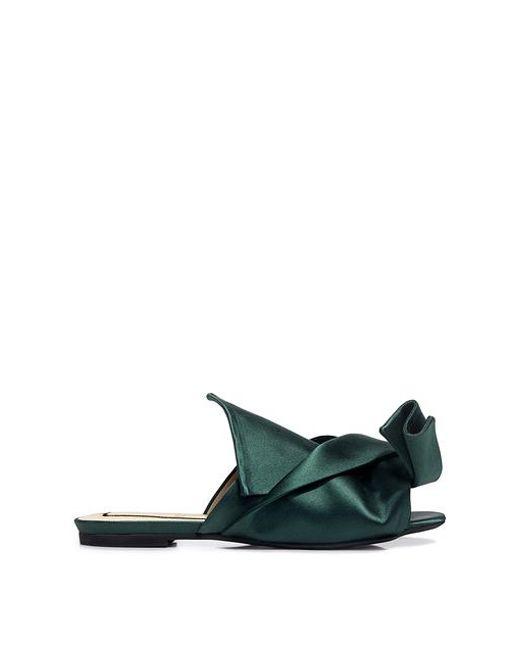 db65275b259db Lyst - N°21 Knotted Satin Flat Sandals in Green - Save 29%