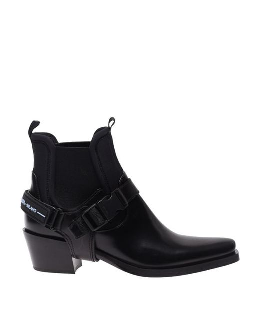 Prada Black Leather Ankle Boots With Buckle Straps