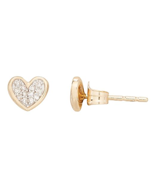 Adina Reyter - Metallic Pavé Diamond Heart Studs - Lyst