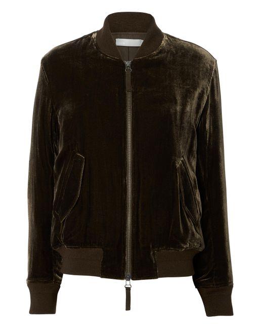 Vince - Brown Saddle Velvet Bomber Jacket - Lyst