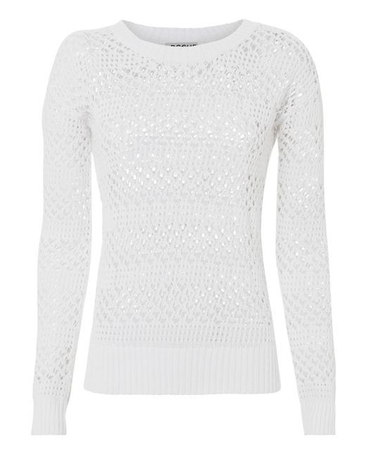 St. Roche - Natalia Open Knit White Sweater - Lyst