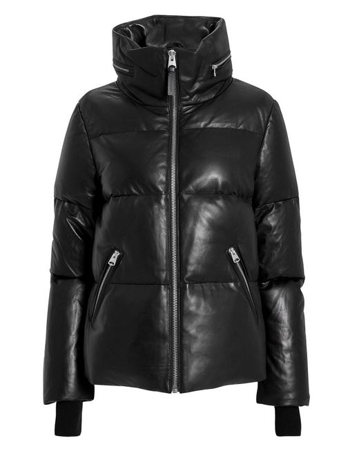 Mackage - Black Leather Puffer Jacket - Lyst
