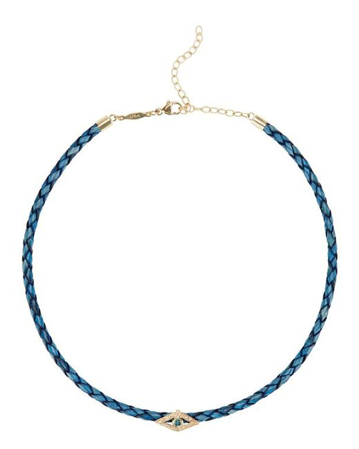 Jacquie Aiche | White Diamond, Blue Diamond, 14k Yellow Gold & Leather Choker Necklace | Lyst
