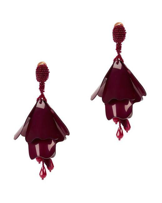 Oscar de la Renta | Red Flower Earrings: Burgundy | Lyst