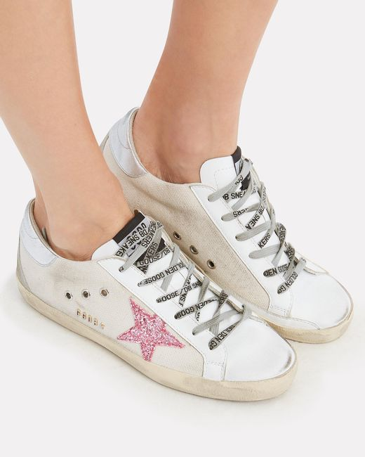 a21443c96020 ... Golden Goose Deluxe Brand - Superstar Pink Glitter Star Canvas Low-top  Sneakers - Lyst ...