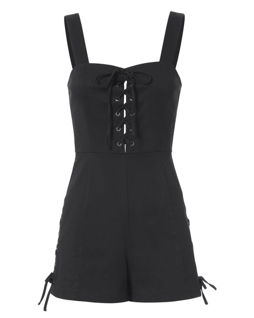 Exclusive For Intermix | Black Jules Lace-up Romper | Lyst