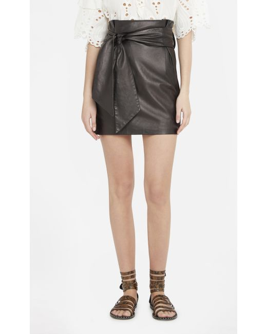 iro kanel leather skirt in black lyst
