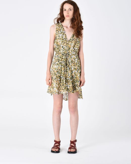 Isabel Marant - Yellow Fara Short Floral Dress - Lyst