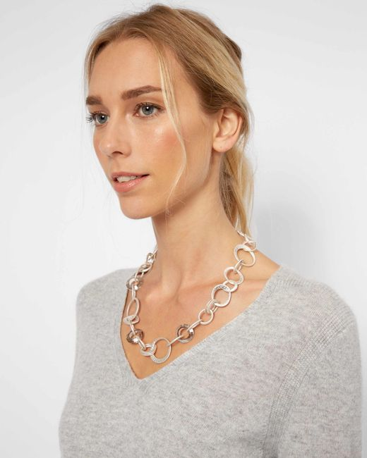 Jaeger | Metallic Melissa Metal And Crystal Loop Short Necklace | Lyst
