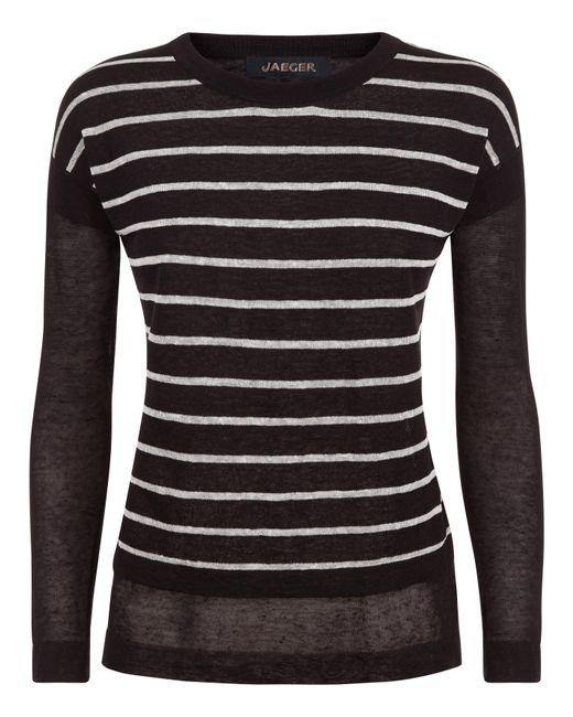 Jaeger | Black Linen Stripe Overlay Sweater | Lyst