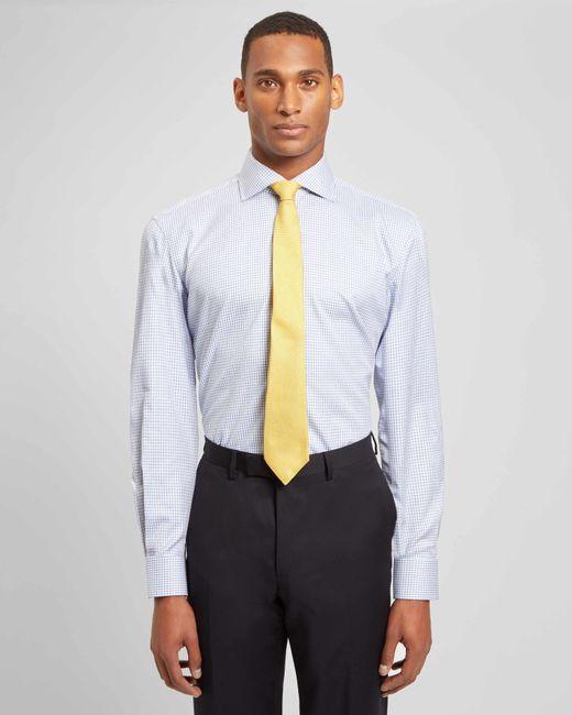 Jaeger | Blue Regular Mouline Check Shirt for Men | Lyst