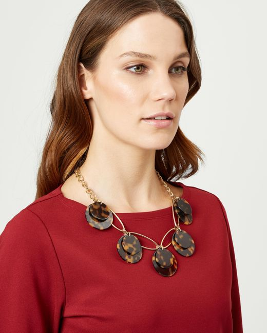 Jaeger - Brown Taylor Tortoiseshell Disc Necklace - Lyst