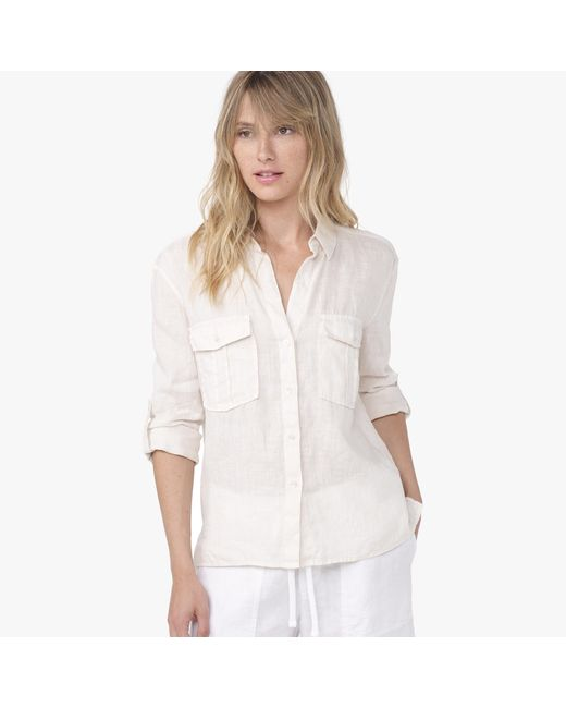 James Perse | Natural Canvas Linen Pocket Button Up | Lyst