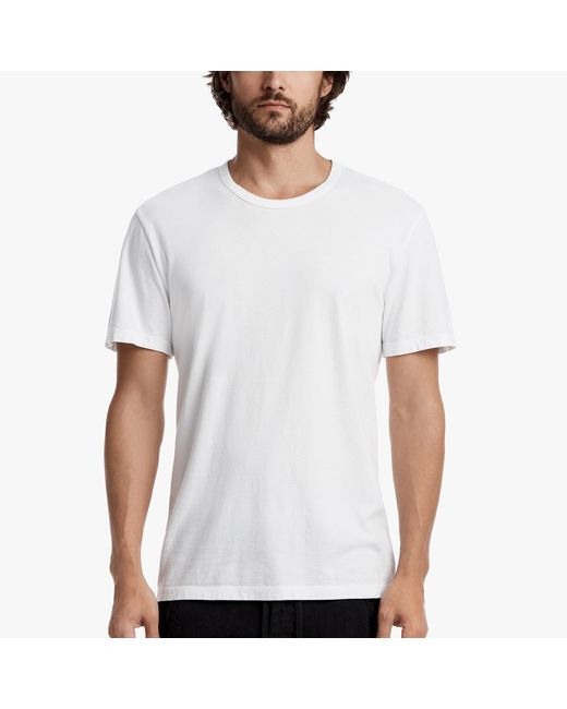 James Perse | White Brushed Cotton Crew Neck for Men | Lyst