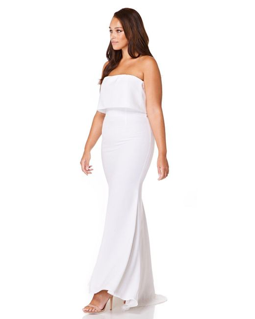 69fe140f52 ... Jarlo - White Blaze Strapless Maxi Dress With Overlay - Lyst ...