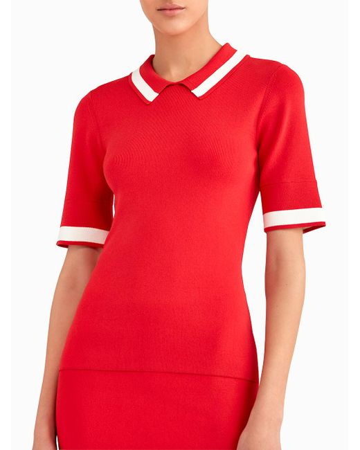 Jason Wu | Red Short Sleeve Knit Polo With Contrast Stripe | Lyst