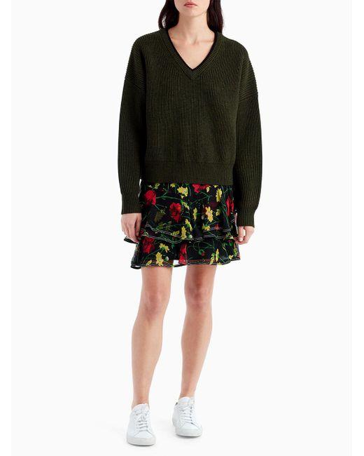 Jason Wu - Black Floral Ruffle Mini Skirt - Lyst